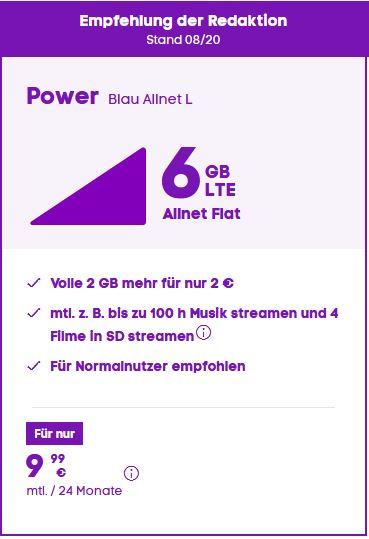 6GB LTE POWER Blau Tarif