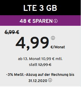 Yourfone 3GB Tarif ab 4,99